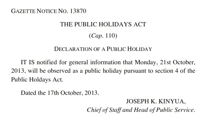 Gazette Notice No. 13870