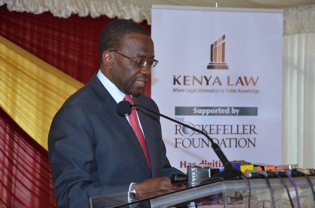The Hon. Dr. Justice Willy Mutunga, D.Jur, SC, E.G.H. Chief Justice/President, Supreme Court of Kenya, delivering his speech during the External Launch