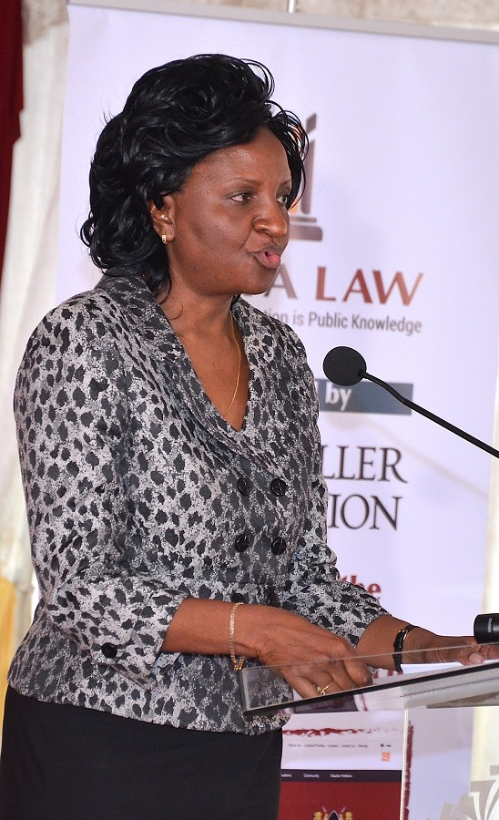 Ms. Anne Amadi, Chief Registrar of The Judiciary delivering her speech during the External Launch