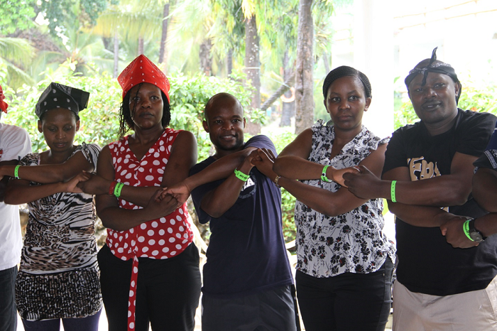 Kenya Law staff participate in a team building activity at Travelers Beach Hotel in November14, 2014