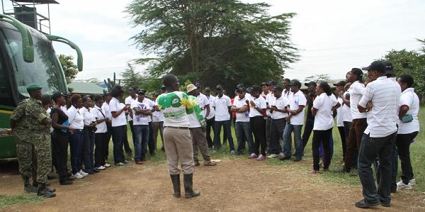 Greenline Forester Mr. Simon Waithaka (in a cream cap) addresses the Kenya Law team at the Greenline secretariat June 26th 2015.