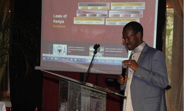 Kenya Law CEO/Editor Mr. Longet Terer during the 6th Kenya Law Annual staff on 26th August 2016.
