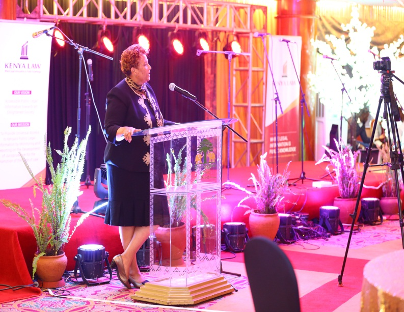 The Chief guest, Hon. Lady Justice  Fatuma Sichale gives her speech at the annual conference, She represented the Chief Justice Hon. David Maraga, EGH  at this event.