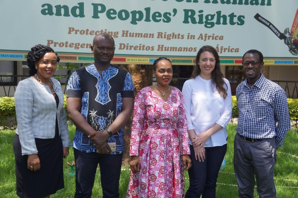 From the Right; Ms. Njeri Githang'a (Kenya Law), Dr. Robert Eno (Registrar, African Court on H&PR), Grace Wakio(African Court on H&PR), Ms. Amy Sinclair (African Lii) and Mr. Long'et Terer (Kenya Law).