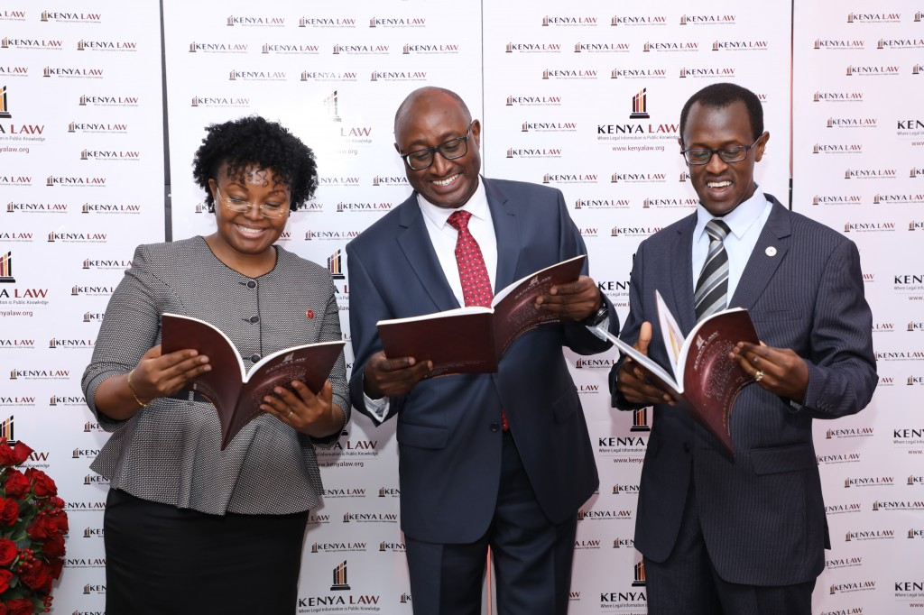 From Right: Kenya Law Editor/CEO Mr. Long'et Terer , Chair of the Technical Committee of the Council Hon. Justice Anthony Ndung'u and Senior Assistant Editor/Deputy CEO Ms. Janet Munywoki