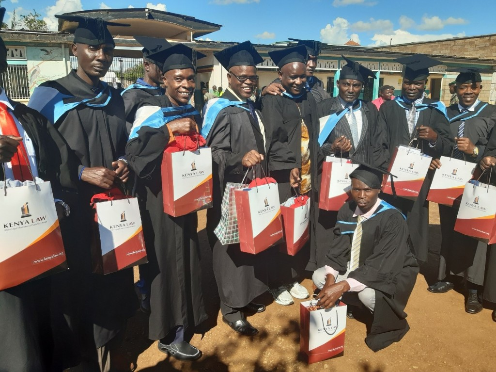 Group photo of some of the Graduates with the Kenya Law gift packs