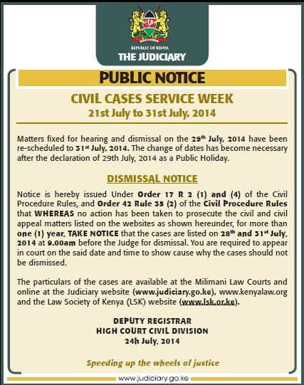 Civil Cases Service Week 2014